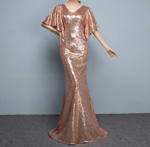 Rose Gold Sleeves Sequin Dress Gold Maxi Long Plus Size Mermaid Sequin Dress NWT image 1