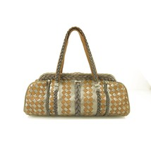 Bottega Veneta Tan & Silver Suede Leather Limited Edition Frame Bag Very rare! - $1,435.50
