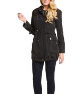 Betsey Johnson Black Ruffle Anorak Jacket with removable lining. Sz Large - $156.00
