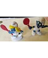 Vintage SMURFS lot of 2 Tennis Player Smurf & Smurfette mini PVC Figure ... - $9.99