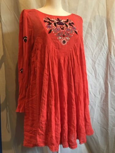 Free People Mohave Moya Embroidered Floral Swing Boho Mini Red Dress Size XS