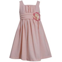 Little Girl Peach Pleated Waist Sequin Flower Linen Dress