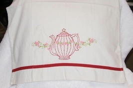 Hand Embroidered Kitchen Tea Towel Red Teapot on White   Cotton - $6.88