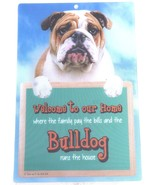 3D BULLDOG WELCOME SIGN STUNNING EYE CATCHING 23CM X 15CM DURABLE DOG SIGN - $5.18