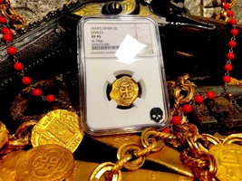 "Spain 2 Escudos 1619 ""Full Date"" Ngc 45 Pirate Gold Coins Treasure Doubloon Cob - $2,795.00"