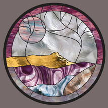 Stained Glass Window Panel Round mountain creek leaded glass Purple Gold... - $197.00