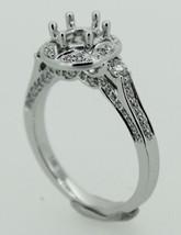 Solid 14K White Gold Round Wedding Natural Diamond Semi Mount Engagement... - $820.46