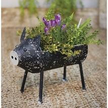 Farmhouse Black Galvanized Metal Pig Plant Holder Garden Porch Decor  - $54.99