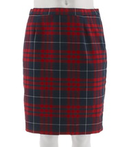 Joan Rivers Tartan Plaid Slim Skirt Red Multi 6 NEW A298266 - $32.65