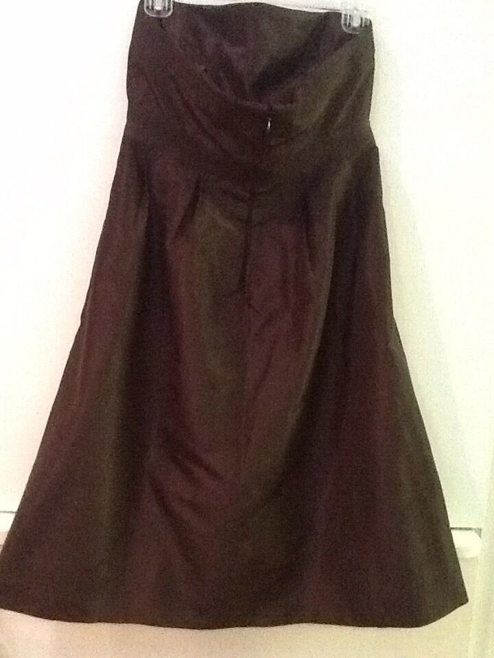 J.Crew Women's 6 100% Silk Brown Strapless Dress Lined image 3