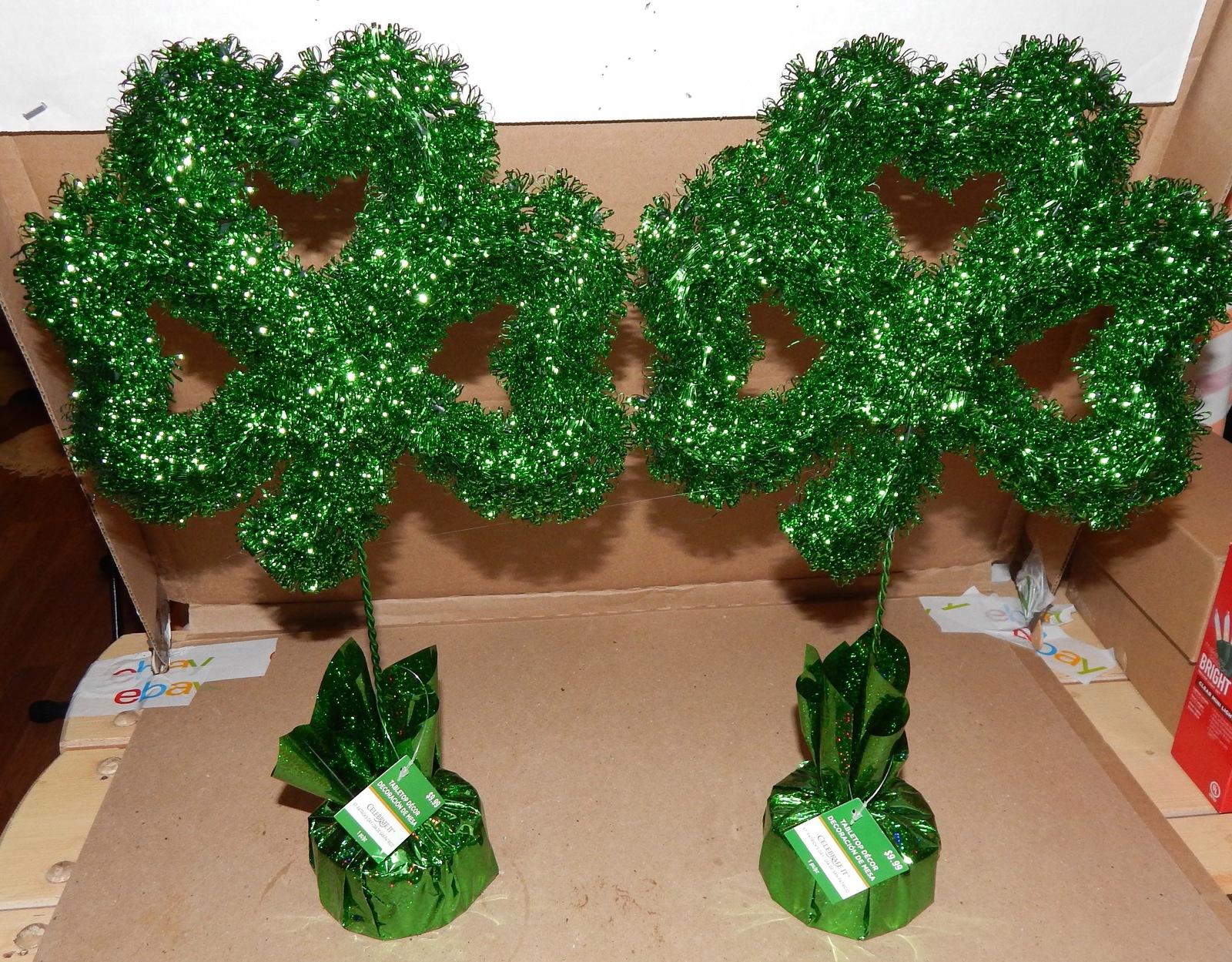 "St. Patrick's Day Irish Tabletop Decor Shamrocks 2ea 17"" x 10"" Celebrate It 153X"