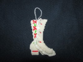 "Handmade 5"" VICTORIAN BOOT Christmas Ornament plastic canvas & yarn deco... - $12.75"