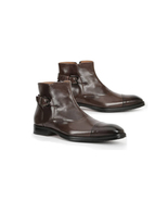 Handmade Ankle Buckle Boots, Men's Dress Brown Boots, Men's Classic Form... - $169.97+