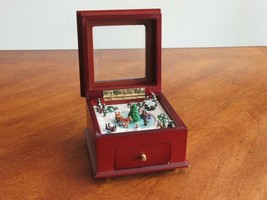 "DEFECT  Mr. Christmas 4"" Animated Jewelry Music Box With Lights Deck The... - $9.99"