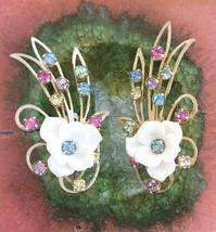 Vintage 1950's Clip Earrings Multi Color Rhinestone - $32.00