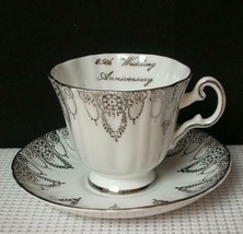 "Royal Grafton Footed Tea Cup & Saucer ""25th Wedding Anniversary"" China Euc - $12.36"