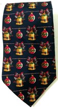 American Traditions Christmas Bells Ornaments Necktie Navy Blue Ugly Made in USA - $18.46