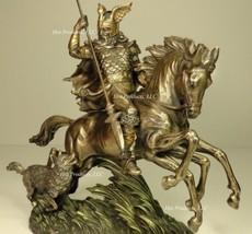 NORSE GOD ODIN RIDING SLEIPNIR the 8 LEGGED HORSE MYTHOLOGY Statue Bronz... - $101.25