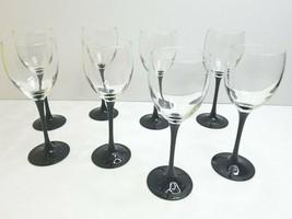 "8 Luminarc France 7 3/4"" VTG Black Stem Wine Glasses Arcoroc Elegant Bar... - $53.13"