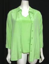 Light Green Silk Coldwater Creek Twinset Tank Top + Blouse S Buttoned Shirt 4 6 - $20.74