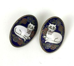 Cat Kitten Cloisonne Earrings Post Vtg Kitsch Boho statement crazy cat l... - $19.79