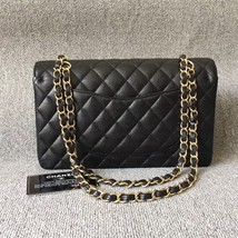 AUTHENTIC CHANEL BLACK QUILTED CAVIAR MEDIUM CLASSIC DOUBLE FLAP BAG Ghw image 2