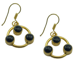 Black Gold Plated Glass grand black onyx jewelry Earring UK gift - $14.48
