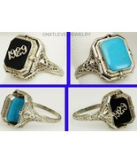 Antique 1929 Art Deco Onyx & Persian Turquoise 14k White Gold Cocktail F... - $688.05