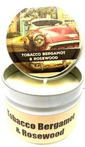 Tobacco Bergamot & Rosewood - 4oz All Natural Hand Made Tin Soy Candle, ... - £4.24 GBP