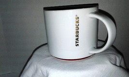 2012 Starbucks 16 oz Stackable Coffee Mug Tea Cup Gold Letters Red Trim - $10.15