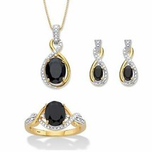 """18k Gold over Silver Oval Genuine Onyx and Diamond Accent Necklace Set 18"""" - $129.97"""
