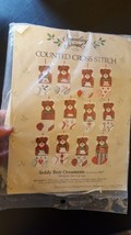 1985 Something Special Counted Cross Stitch 12 Teddy Bear Ornaments 50177 - $12.32