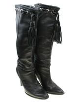 ANTONIO MELANI Womens Black Pebbled Leather Tassel Fringe Tall Boots Sz ... - $49.49