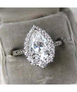 14k White Gold Finish 2Ct Pear Cut Diamond Halo Engagement Ring For Women's - $82.19