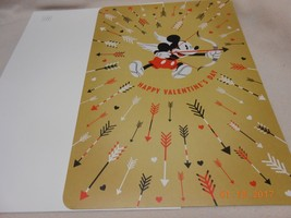 NEW XXL HALLMARK VALENTINE CARD & ENVELOPE MICKEY MOUSE SHOOTING LOVE ARROW - $6.44
