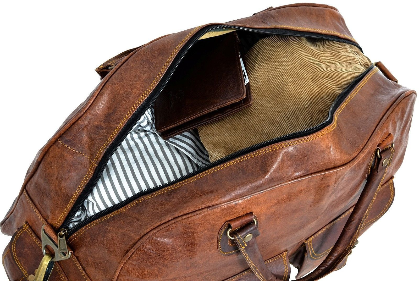 """New 16"""" Men's Genuine Brown Soft Leather Travel Luggage Duffel Gym Overnight Bag"""