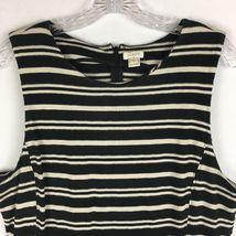 J.Crew Factory Sleeveless Scoopneck Black & Beige Striped Midi Dress Size XL  image 4