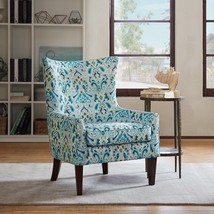 Wingback Chair Bohemian Accent Recessed Arm Damask Upholstery Foam Cushi... - €327,93 EUR