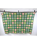Vtg Retro Thick Wool Multi Color Crochet Knit Roseanne Sofa Throw Blanke... - $38.60