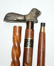 Antique Brass Twist Wooden Walking Stick Cane With Lion Style Head Handl... - $33.04