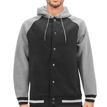Men's Fleece Varsity Sweatshirt Letterman Sports Raglan Button Up Hoodie Jacket image 14