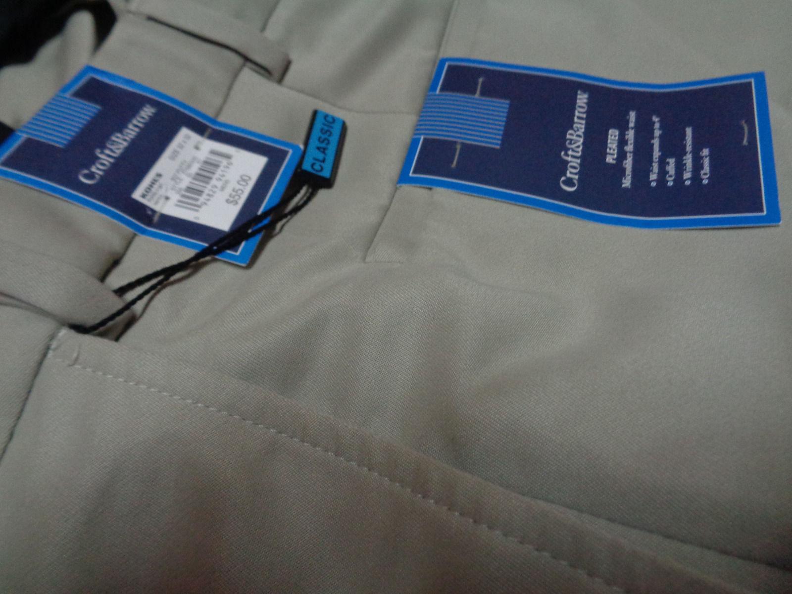 Men's Beige Khaki Slacks Pants CROFT & BARROW NWT Sz 32x32