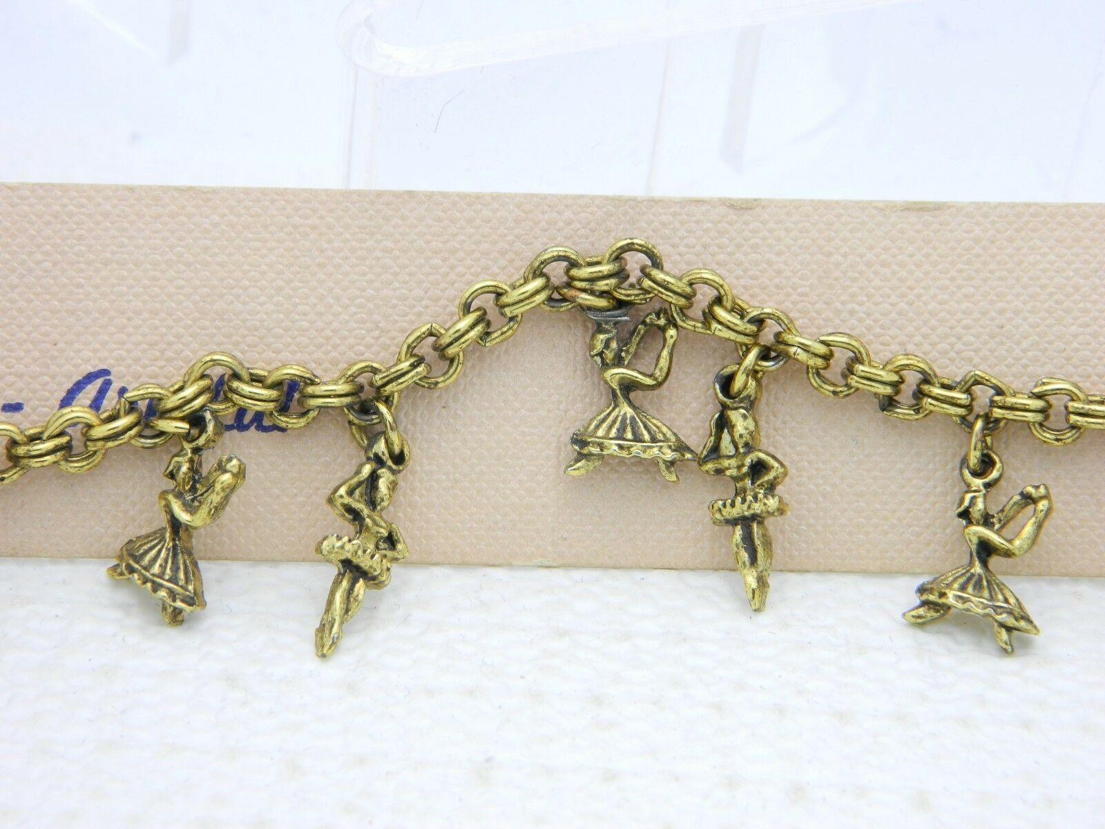Vintage Gold Tone Ballerina Dancers Charm Bracelet New Old Stock image 3