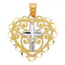 14K Two-Tone Gold Cross in Heart Pendant - $89.99