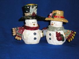 KURT ADLER Snowtown -  Snowman / Snowwoman Candle Holders - Figurine  - $17.00
