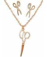 Hairdresser Barber Shears Crystal Scissors Necklace Earrings Set Rose Gold - $53.64