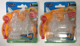 Lot of 2 Evenflo Zoo Friends 4 Count Silicone Anatomic Nipple X-Cut Brush 8+m - $8.48