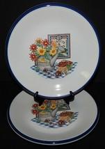 2 Garden Splendour Century Stoneware Dinner Plates Watering Can Flowers ... - $29.70