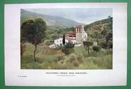 SPAIN Vallvidrera Church near Barcelona - 1907 Old Print COLOR - $6.30