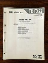 Sony TC-FX22 Cassette Service Manual Supplement *Original* - $15.77